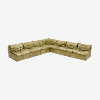 Olive green modular Laauser sofa patchwork leather, 1970s