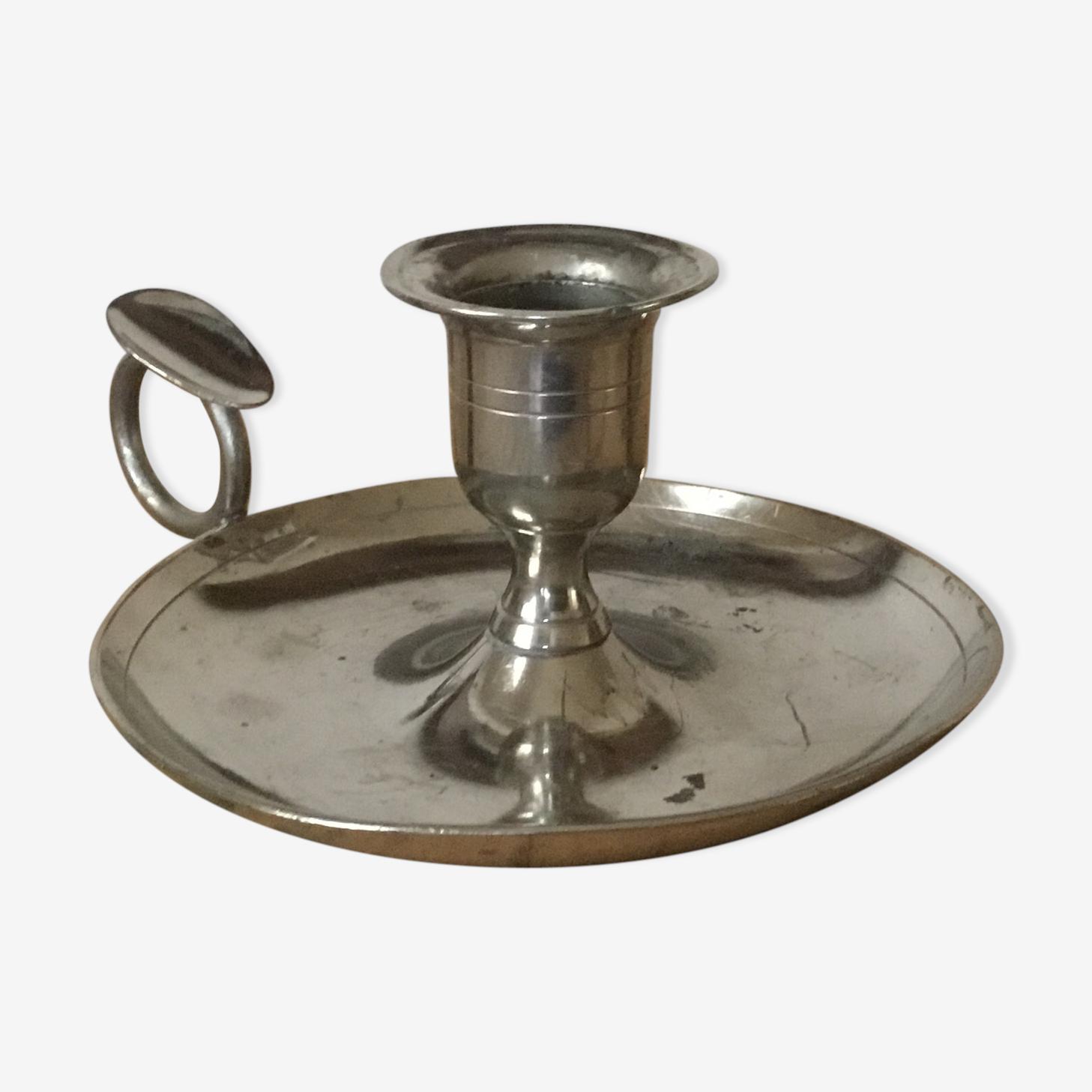 Bougeoir poucier en métal argenté