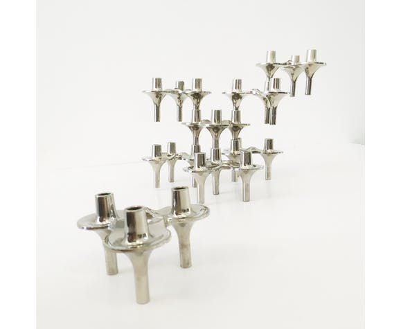 Set of 8 modular candleholders Orion by Fritz Nagel - BMF - Germany
