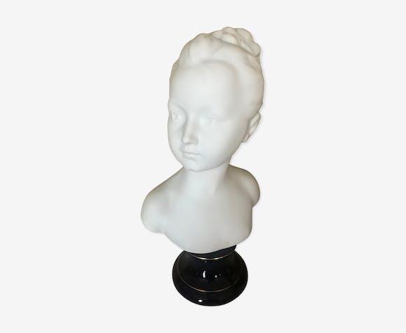 Buste en biscuit de porcelaine, enfant, Louise Brongniart d'après Houdon