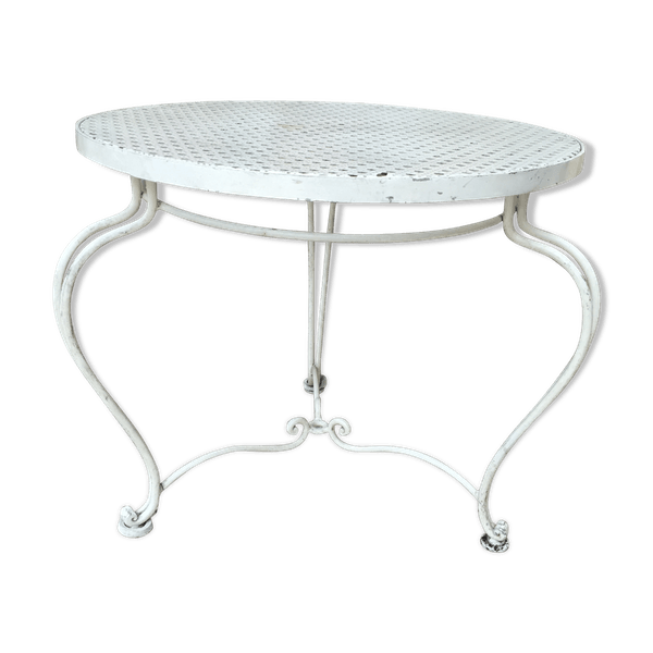 Table basse de jardin en métal - fer - blanc - bon état - vintage - jhX2kzq