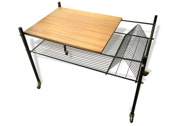 table tourne disques ann es 1960 m tal noir bon tat vintage 16008. Black Bedroom Furniture Sets. Home Design Ideas