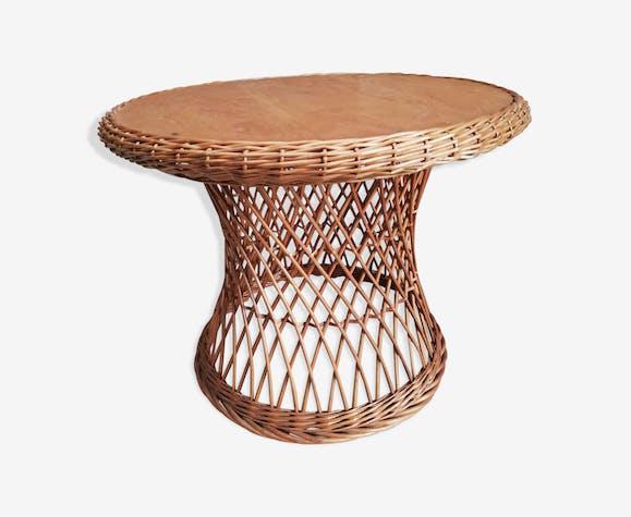 Table basse pied osier rotin diabolo plateau bois