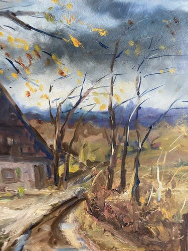 Tableau ancien, paysage signé Guyard, circa 1960