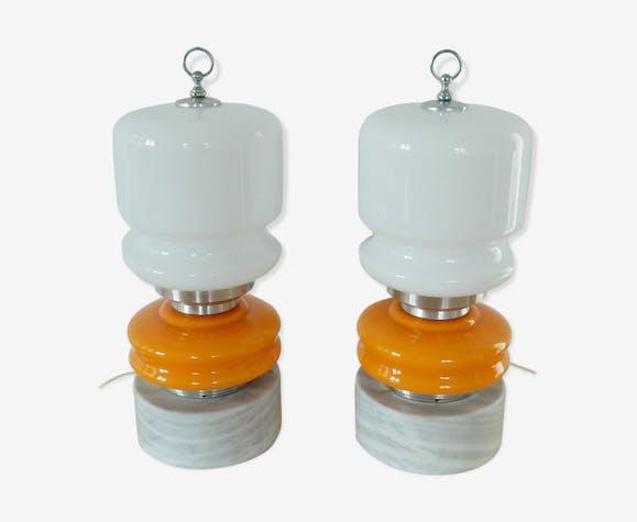De Et Vintage Avec Orange Piédestal Verre Lampes Blanc En Bureau LzpqMjSVUG