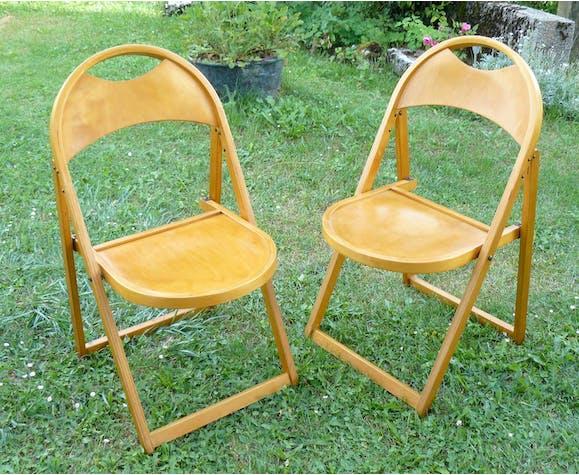 Paire de chaises pliantes modernistes design 1950-60