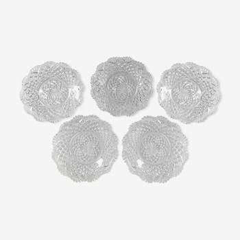 Série de cinq coupelles en cristal de Val Saint Lambert