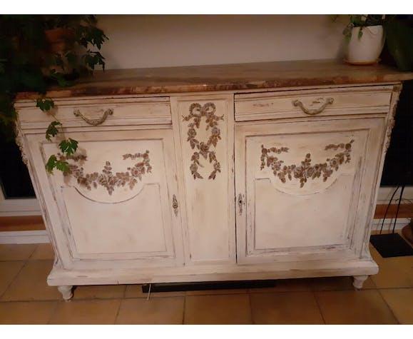 Buffet 2 Portes Et 2 Tiroirs Avec Des Decorations Florales Meuble Patine Blanc Selency