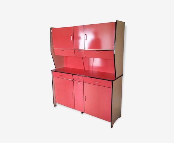 Buffet chaises et table de cuisine vintage en formica rouge formica rouge vintage 122527 - Buffet cuisine formica ...
