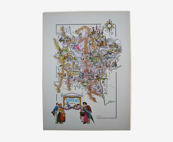 Map Of The Lyon Region Of France Jacques Liozu Illustrated Paper