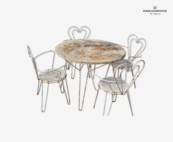 Salon de jardin en fer + 4 fauteuils dossier coeur Mategot - iron ...