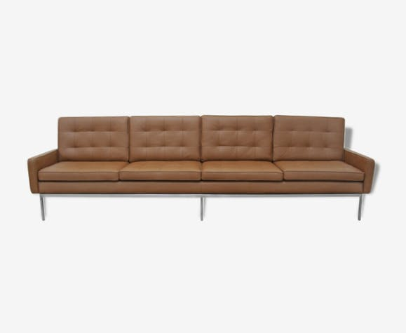 Canap 4 places florence knoll cuir marron vintage for Canape knoll