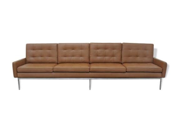 canap 4 places florence knoll cuir marron vintage. Black Bedroom Furniture Sets. Home Design Ideas