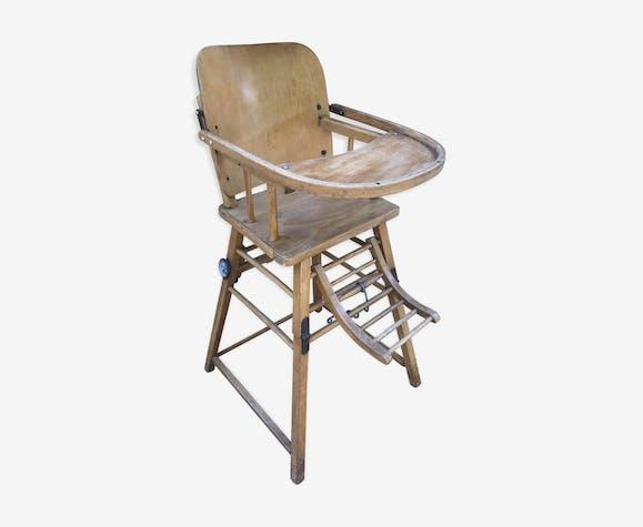 vintage haute Chaise Baumann bébé bois bois assise enfant XukZPi
