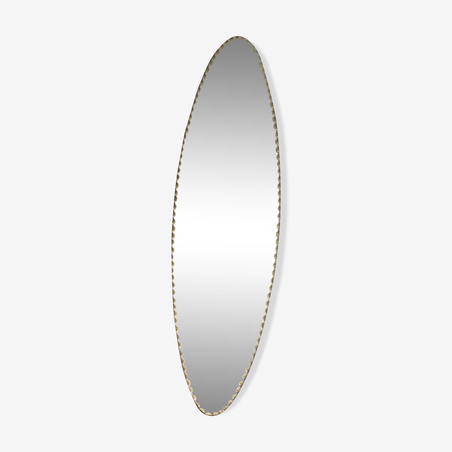 Long miroir oval biseauté 60x17cm