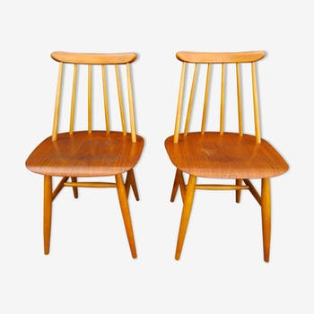 Pair of chairs scandinavian Fanett by Ilmari Tapiovaara
