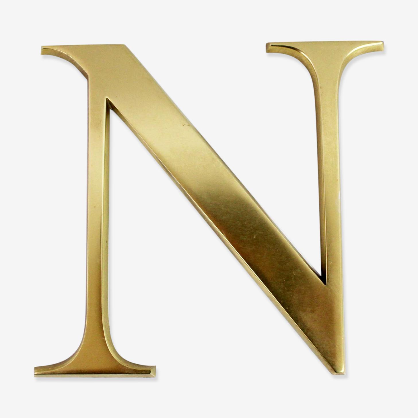 """Letter """"n"""" vintage brass"""