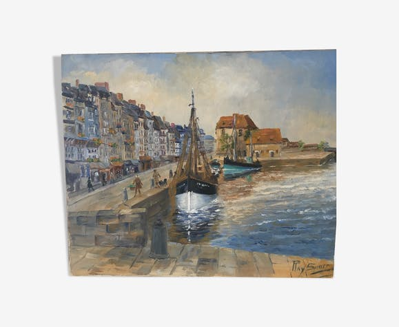 Huile sur toile «le port d'Honfleur»