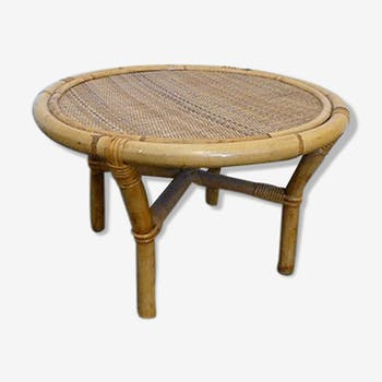 Coffee table bamboo and rattan vintage 1970
