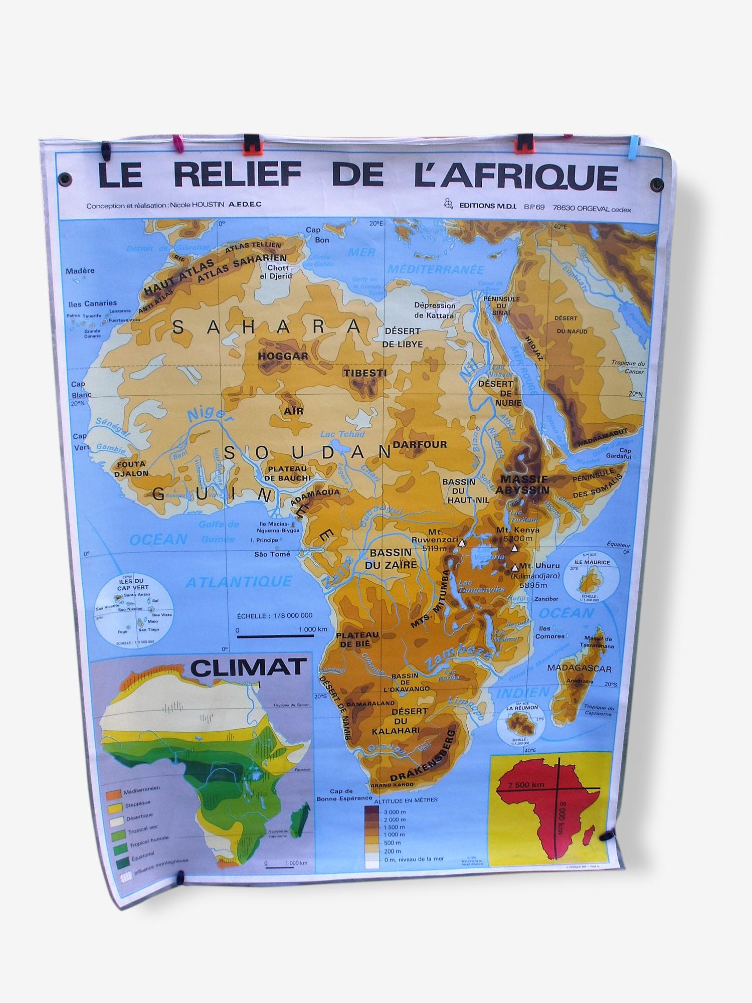 Affiche scolaire le relief de l'Afrique / les Etats 1985