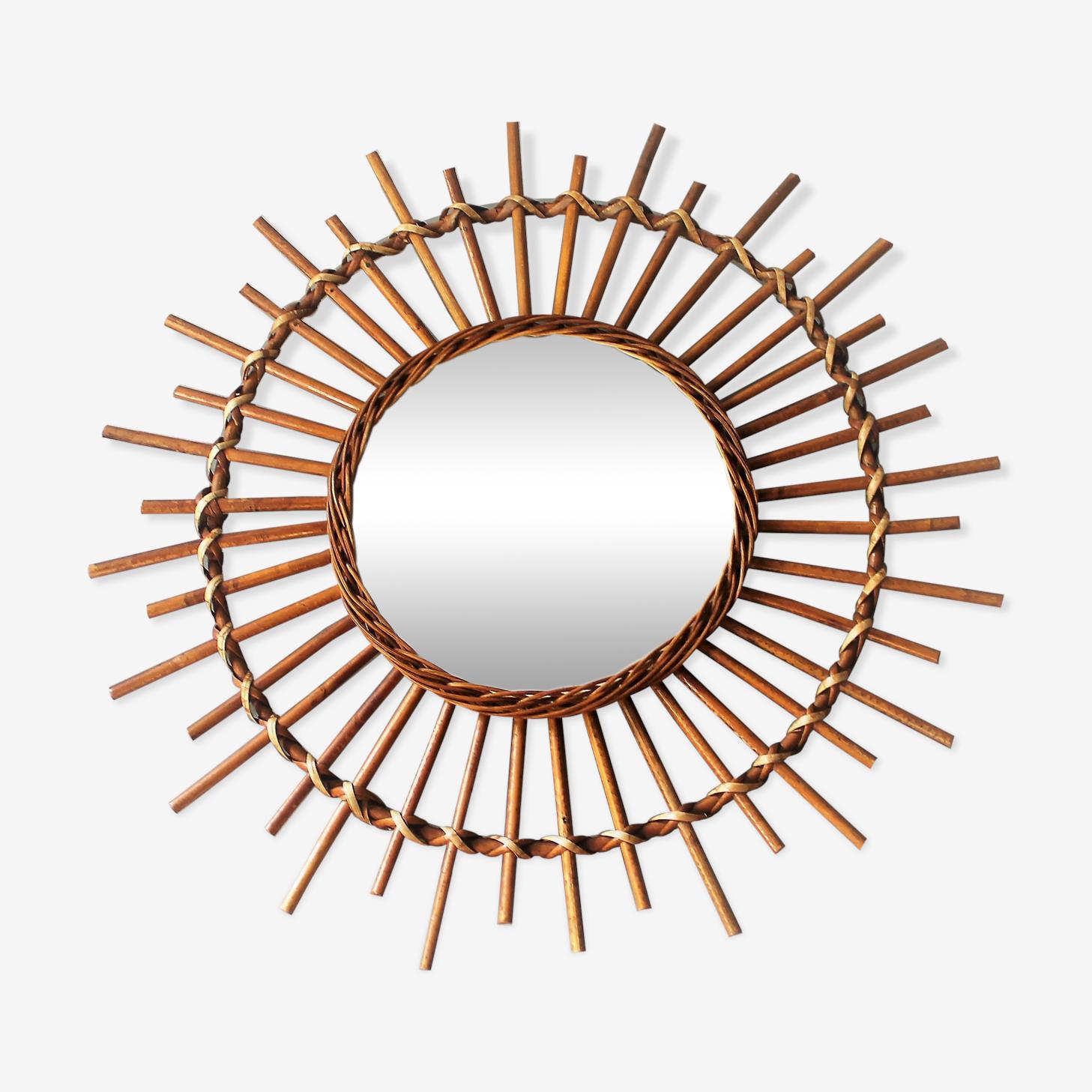 Miroir soleil en rotin vintage