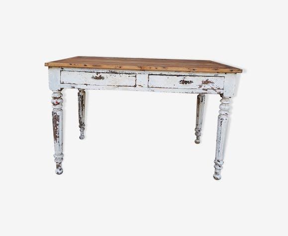 Ancien bureau napoléon bois tourné patiné blanc bois matériau