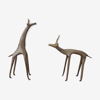Paire animaux en laiton