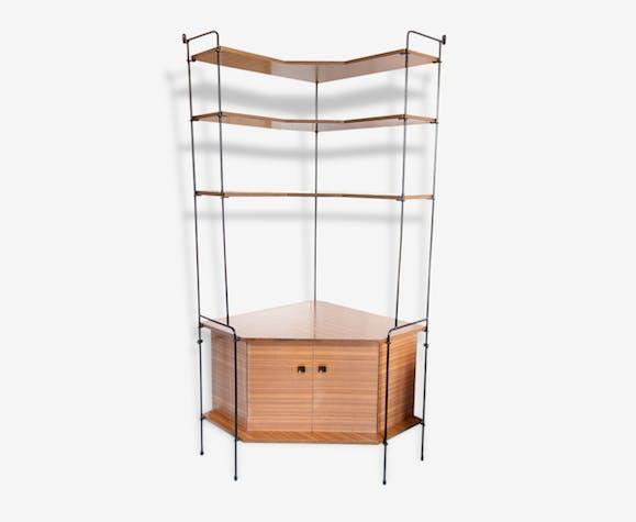 biblioth que d 39 angle scandinave vintage m tal bois. Black Bedroom Furniture Sets. Home Design Ideas