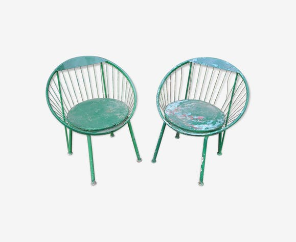 paire de fauteuils de jardin en m tal et fil scoubidou vintage ann es 60 70 m tal vert. Black Bedroom Furniture Sets. Home Design Ideas