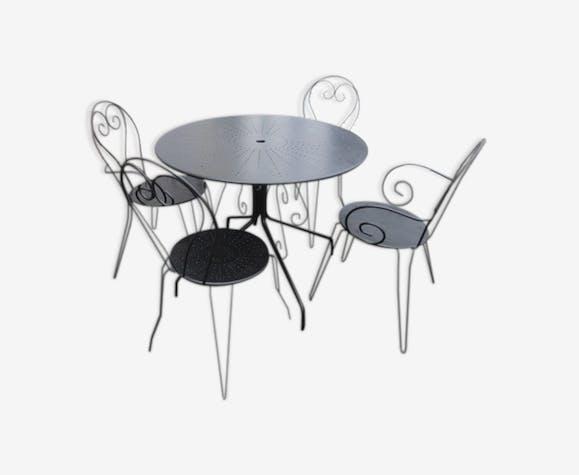 Salon de jardin en métal noir mat - métal - noir - classique - j6K9vYJ