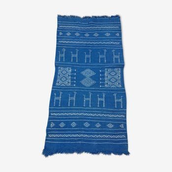 Blue Berber carpet wool 103 x 56 cm