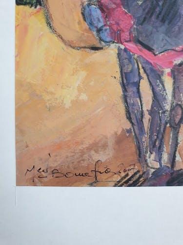 Gouache sur papier, Marocain à cheval, Mohamed Bouafia