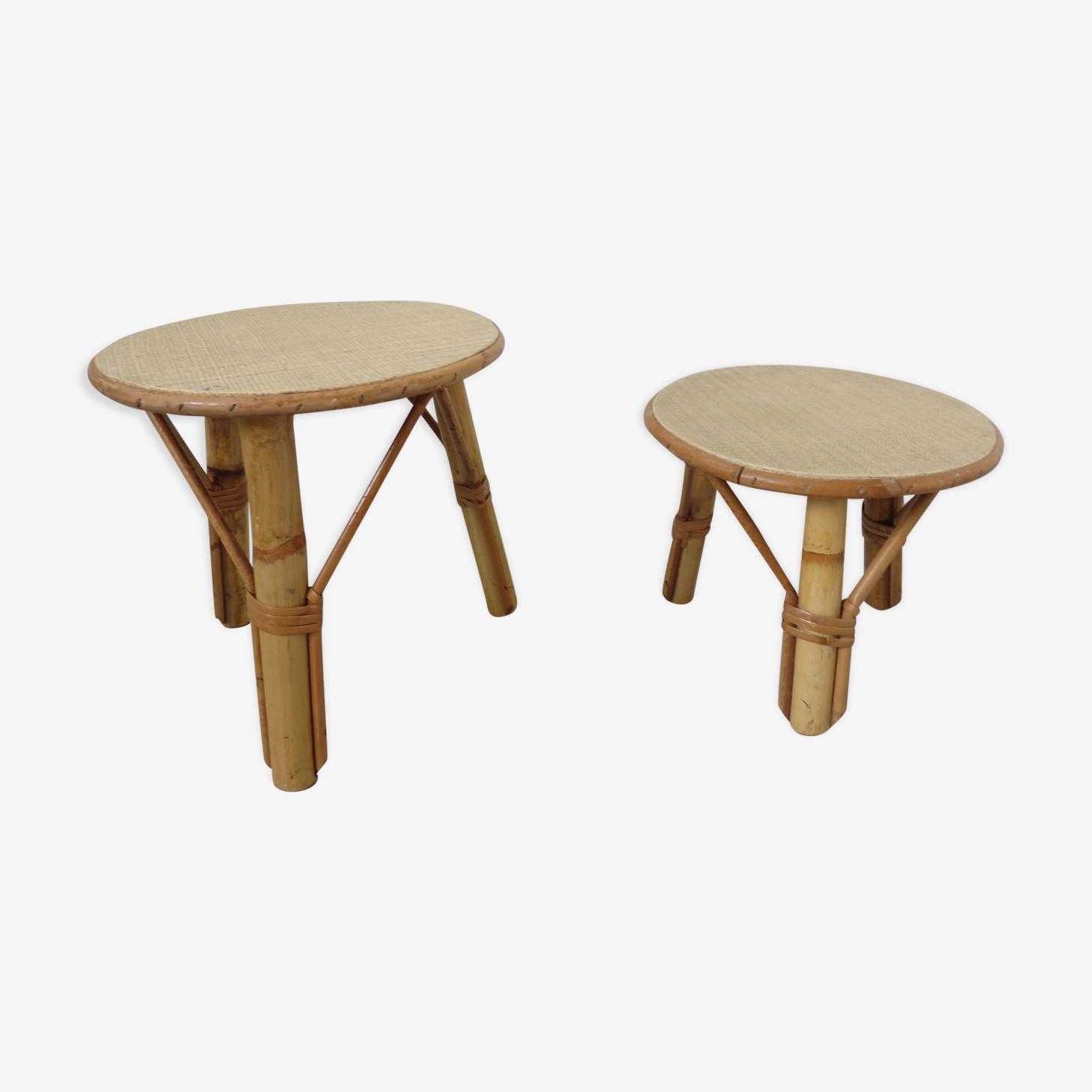 2 tables tripodes en rotin années 60/70