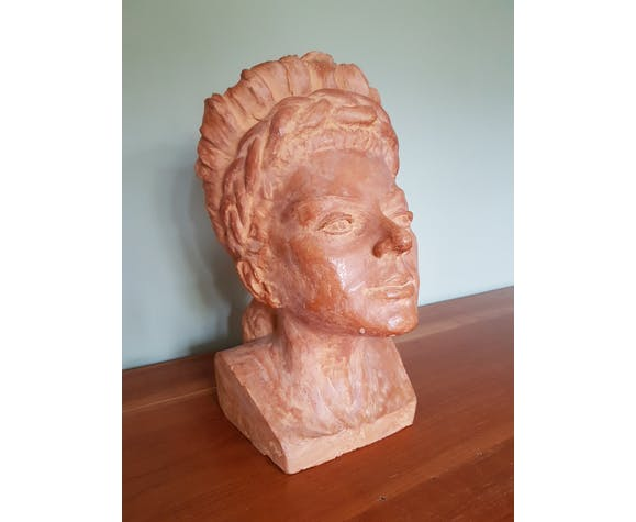 woman's head in patinated terracotta