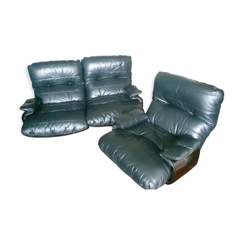 Sofa 2 places and Marsala Ligne Roset armchair - leather - black ...