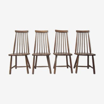 Scandinavian solid wooden high back spindle chairs, set of 4