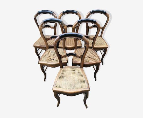 Serie de 6 chaises anciennes style louis xv bois assise cann e vintage bois mat riau - Style chaises anciennes ...