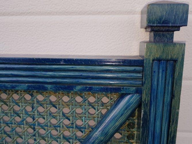 Lit vintage des années 80 cannage et rotin teinté bleu