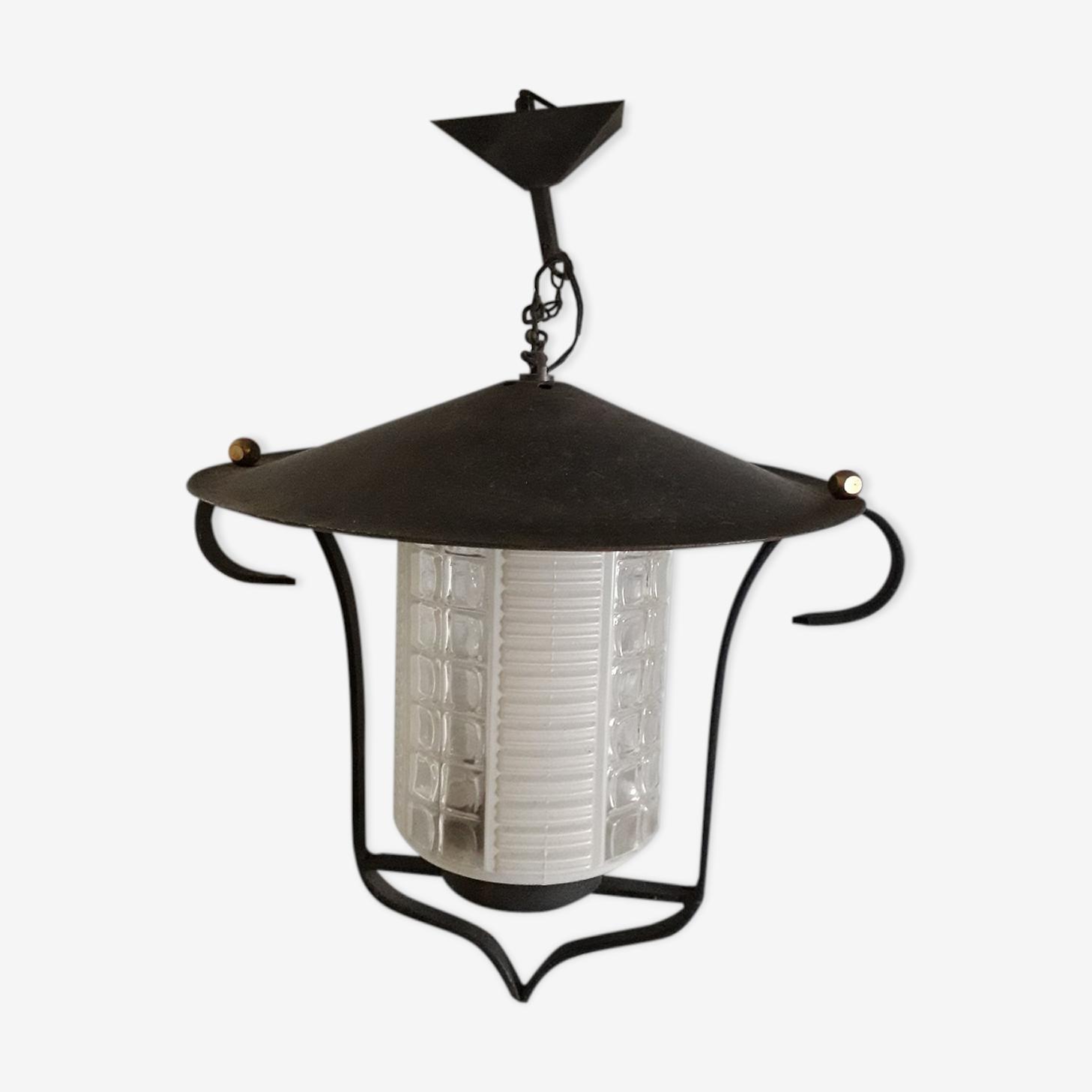 Suspension lanterne métal et verre