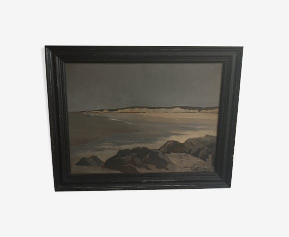 Huile sur toile paysage de bord de mer signée H Fraisse 1973