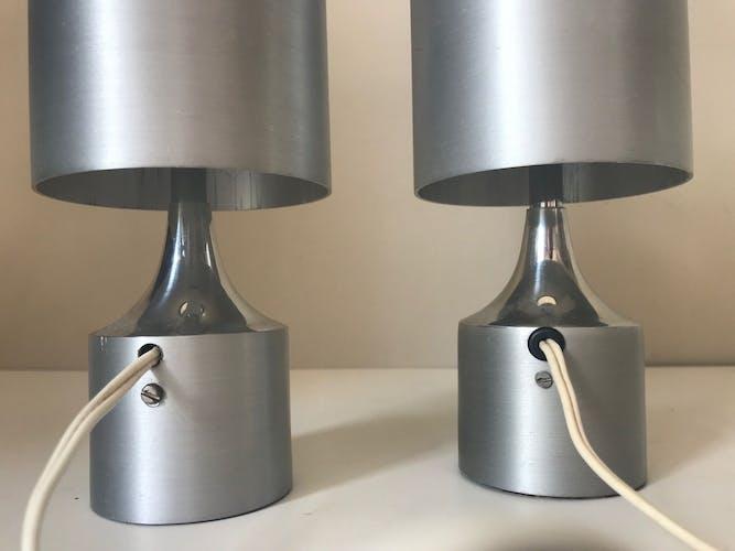 Paire de lampes aluminium design annees 70