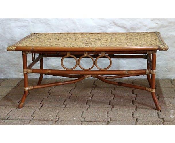 Table basse en bambou et rotin