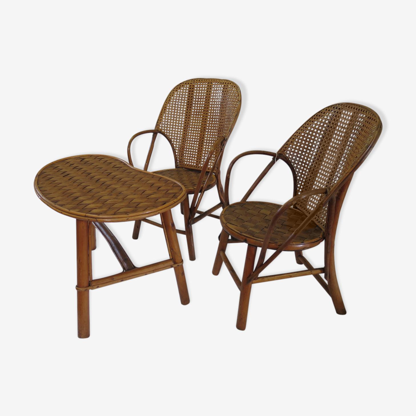 Ensemble enfants 2 fauteuils et table rognon rotin