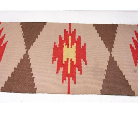 Tapis moderne kelim du milieu du siècle, années 1960 - 137x66cm