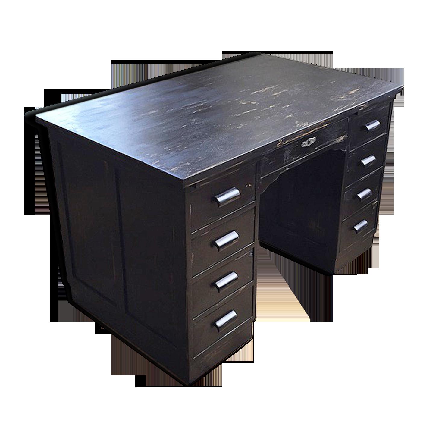 Bureau de notaire noir bois matériau noir classique zkdgp x