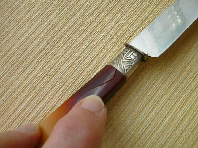 """Set de 10 couteaux de table anciens """"au diamant"""" corne bovine et inox"""